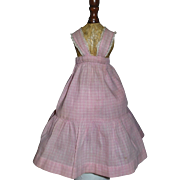 Lovely Early Vintage Pink Gingham Doll Pinafore, French Fashion, China