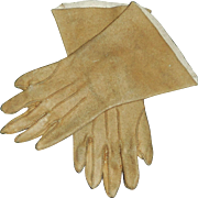 Nice Pair of Antique Brown Fashion Doll Leather Gloves.