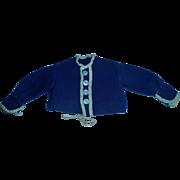 Early Made Blue Wool Fashion Doll Jacket