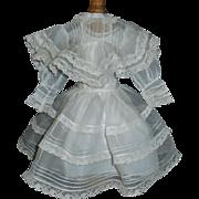 Beautiful Sheer Organdy Doll Dress, French or Geman