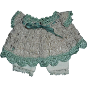 Tiny Crocheted Doll Dress with Pantaloons, All Bisque
