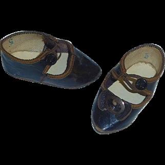 Fabulous Pair of Antique Ca 1880 BRU 5 Doll Shoes