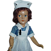 Nice Early Vintage Composition Painted Eye Mary Hoyer Nurse Doll