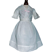 Lovely Antique White 2 Pc Cotton Doll Dress w Petticoat