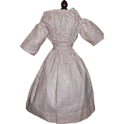 Nice Early Calico Print Doll Dress, China, Papier Mache