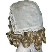 Pretty Early Cotton Doll Bonnet, Roses and Lace