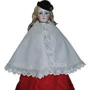 Pretty French Fashion Antique Doll Cape, Eyelet lace