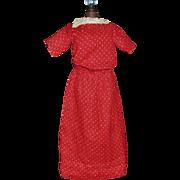 Antique Red Cotton Doll Dress w White Polka Dots
