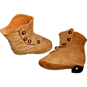 Fabulous Pair of Suede Leather Antique Fashion Doll Boots