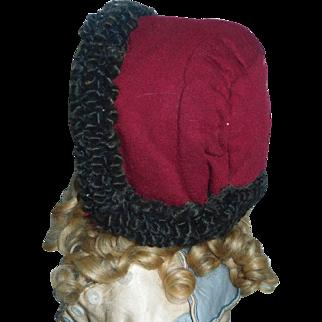 Wonderful Antique Wool Doll Hat