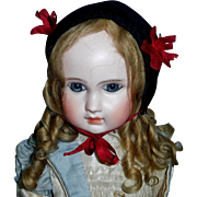 Nice Early Black Velvet Doll Hat with Red Ribbons
