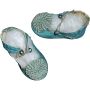 Fabulous Pair of Blue Leather Antique French Bebe Jumeau Shoes 7