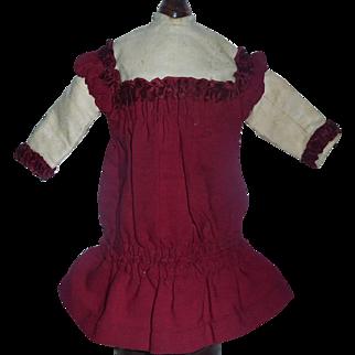 Pretty Antique Maroon Drop Waist Wool Challis French Bebe Doll Dress
