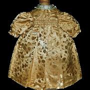 Pretty Gold Silk Brocade French or German Doll Dress