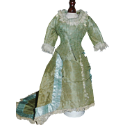 Beautiful Antique Green French Fashion Silk Doll Dress, Damage