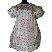 Lovely Vintage Doll Dress, Roses and Ribbons