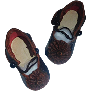 Fabulous Pair of Small Antique French Doll Shoes CM