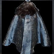 Pretty Vintage Blue with Gold Metallic Doll Cape, Fur Collar