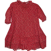 Nice Antique Cotton Red Print Child's / Large Doll Dress