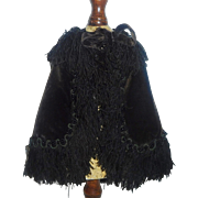 Fabulous Antique Velvet French Fashion Doll Cape w Fringe and Beads