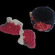 Nice Antique Black Velvet French Fashion Doll Hat w tiny Knit Slippers
