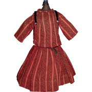 Nice Red Wool Print Antique Doll Dress