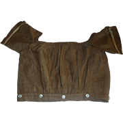 Early Brown Cotton Chambray Doll Bodice, Papier Mache