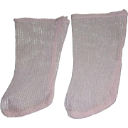 Pair of Pink Antique Open Weave Doll Stockings