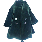 Wonderful Early Green Velvet Doll Coat