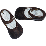 Cute Pair of Antique Leather Child / Large Doll Shoes