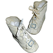 Wonderful Pair of Antique White Leather Doll Boots