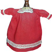 Small Antique Red Cotton Doll Chemise / Dress