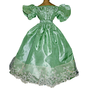 Beautiful Early Green Silk Fashion Doll Gown