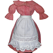 Nice Antique Pink Calico Doll Dress with Eyelet Apron