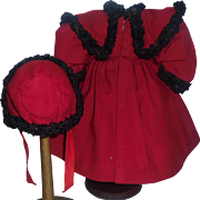 Sweet Early Red Wool Bebe Coat and Bonnet
