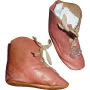 Nice Pair of Antique Pink Leather Doll Boots, Marked 5, Papier Mache, China