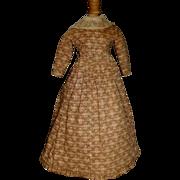 Fabulous Antique Calico Doll Dress, China, Papier Mache