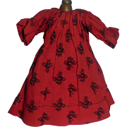 Small Early Red Print Doll Chemise / Dress