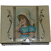 Antique Small Box with Celluloid Cover, Contents
