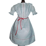 Nice White Cotton Antique Doll Dress, Red Feather Stitching