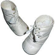 Sweet Pair of White Cloth Doll Boots