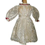 Lovely Antique Embroidered Net Lace Doll Dress w Petticoat