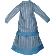 Lovely Early 2 Pc Cotton Doll Dress with Chambray Trim. Large China, Papier Mache