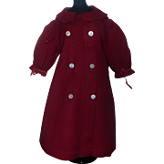 Antique Red Wool Doll Coat, French or German