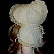 Wonderful Antique Doll White Prairie Sun Bonnet, Papier Mache, Cloth