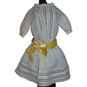 Pretty Antique White French or German Doll Dress