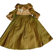 Green Antique Satin Doll Dress to be Restored