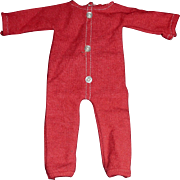 Cute Pair of Vintage Red Wool Doll Longjohns