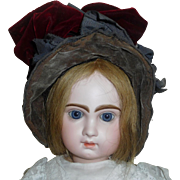 Antique Grey / Maroon Doll Bonnet, Needs repair