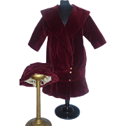 Lovely Antique Maroon Velvet Doll Coat and Hat TLC - Red Tag Sale Item